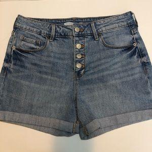 High Rise Secret-Slim Pockets button down shorts
